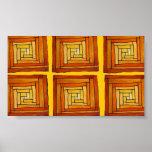 Modelo amarillo y marrón de Zentangle del art déco