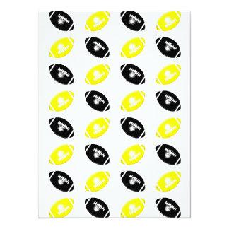 """Modelo amarillo y negro brillante del fútbol invitación 5.5"""" x 7.5"""""""