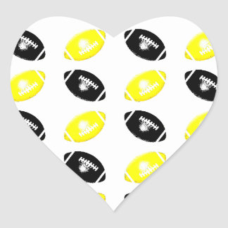 Modelo amarillo y negro brillante del fútbol pegatina corazón personalizadas