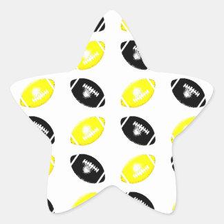 Modelo amarillo y negro brillante del fútbol pegatina en forma de estrella