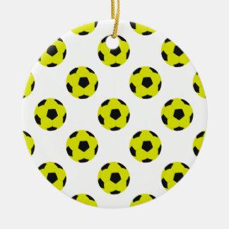 Modelo amarillo y negro del balón de fútbol adorno navideño redondo de cerámica