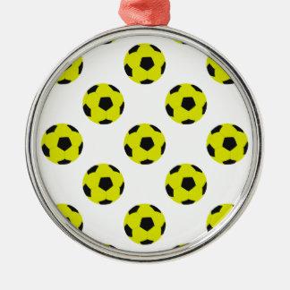 Modelo amarillo y negro del balón de fútbol adorno navideño redondo de metal