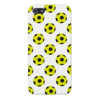 Modelo amarillo y negro del balón de fútbol iPhone 5 funda