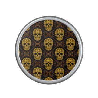 Modelo amarillo y negro del cráneo del azúcar altavoz bluetooth