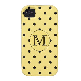 Modelo amarillo y negro del monograma de encargo d iPhone 4 funda