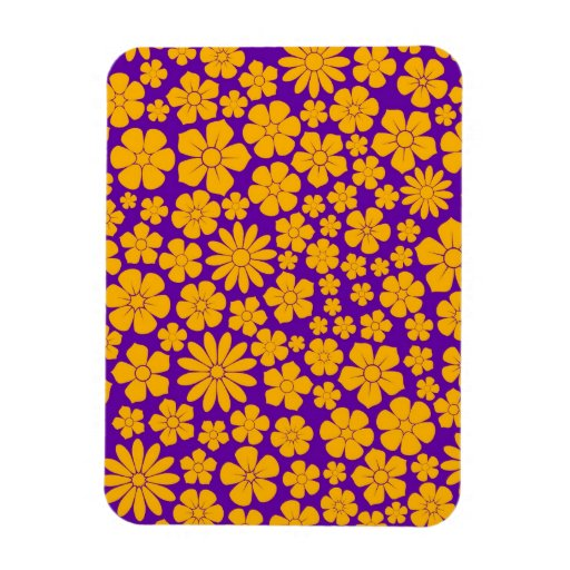 Modelo amarillo y púrpura de los Wildflowers Imanes Rectangulares