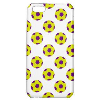 Modelo amarillo y púrpura del balón de fútbol