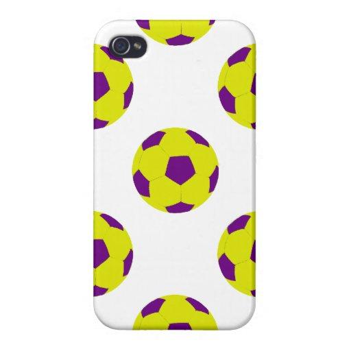 Modelo amarillo y púrpura del balón de fútbol iPhone 4/4S carcasa