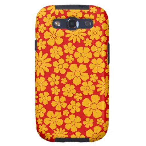 Modelo amarillo y rojo de los Wildflowers Galaxy SIII Coberturas