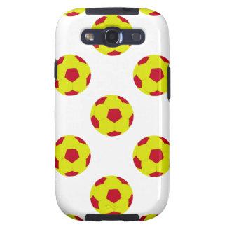 Modelo amarillo y rojo del balón de fútbol samsung galaxy s3 cobertura