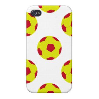 Modelo amarillo y rojo del balón de fútbol iPhone 4 cobertura