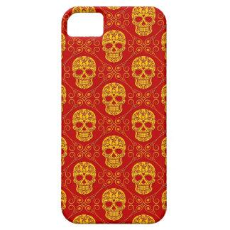 Modelo amarillo y rojo del cráneo del azúcar funda para iPhone SE/5/5s