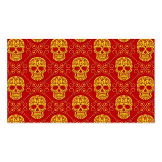Modelo amarillo y rojo del cráneo del azúcar tarjetas de visita
