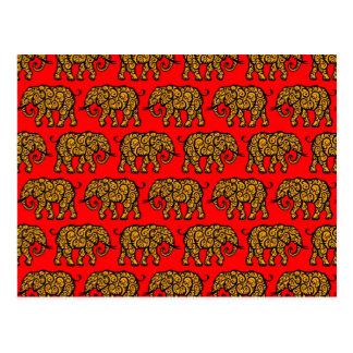 Modelo amarillo y rojo del elefante que remolina postales