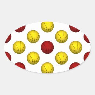 Modelo amarillo y rojo oscuro del baloncesto calcomania de oval