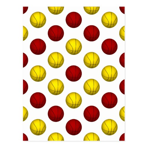 Modelo amarillo y rojo oscuro del baloncesto tarjeta postal
