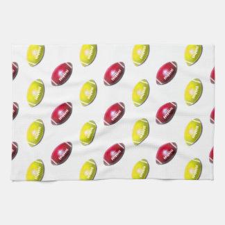 Modelo amarillo y rojo oscuro del fútbol toallas