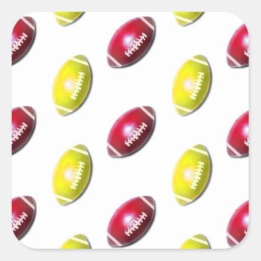 Modelo amarillo y rojo oscuro del fútbol pegatina cuadrada