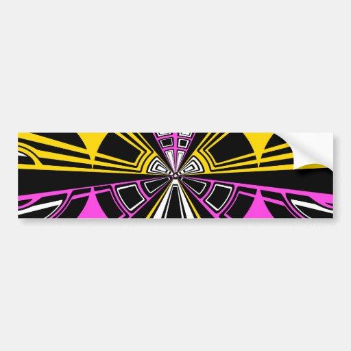Modelo amarillo y rosado moderno del círculo etiqueta de parachoque