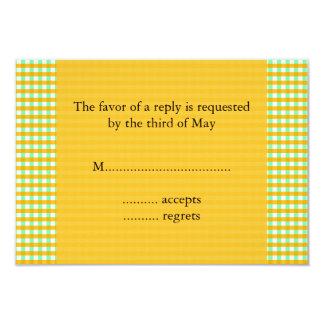 """Modelo amarillo y verde de la guinga invitación 3.5"""" x 5"""""""