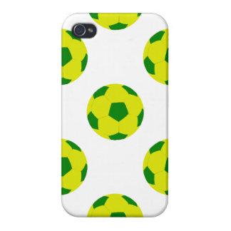 Modelo amarillo y verde del balón de fútbol iPhone 4 cárcasas