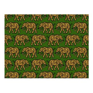 Modelo amarillo y verde del elefante que remolina postales