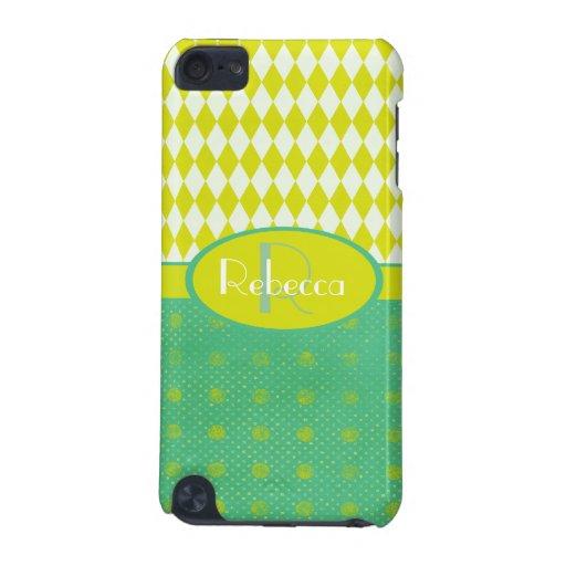 Modelo amarillo y verde personalizado elegante funda para iPod touch 5G