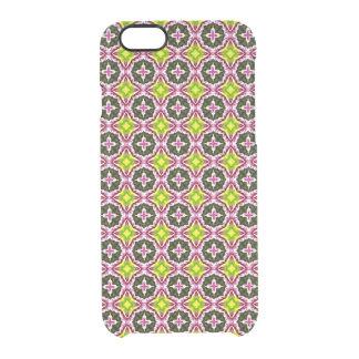 Modelo amarillo y verde rosado del batik funda clearly™ deflector para iPhone 6 de uncommon
