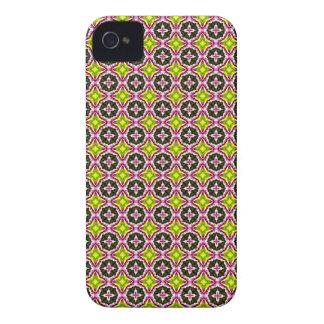 Modelo amarillo y verde rosado del batik iPhone 4 Case-Mate cárcasa