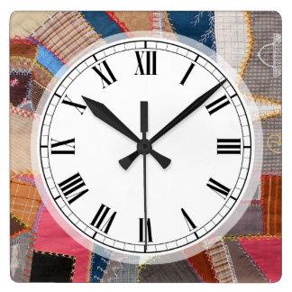 Modelo americano antiguo del edredón de Quilter Reloj Cuadrado