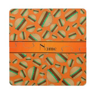 Modelo anaranjado conocido personalizado de la posavasos de puzzle