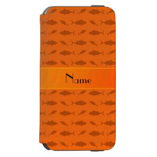 Modelo anaranjado conocido personalizado del atún funda billetera para iPhone 6 watson