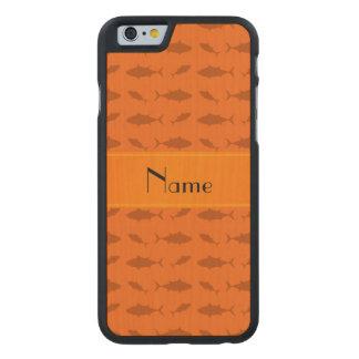 Modelo anaranjado conocido personalizado del atún funda de iPhone 6 carved® de arce