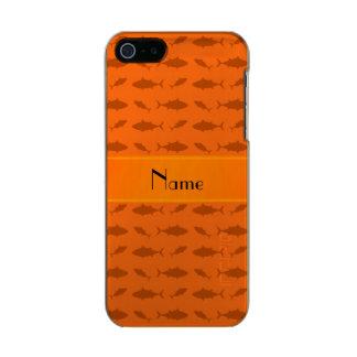 Modelo anaranjado conocido personalizado del atún funda para iPhone 5 incipio feather shine