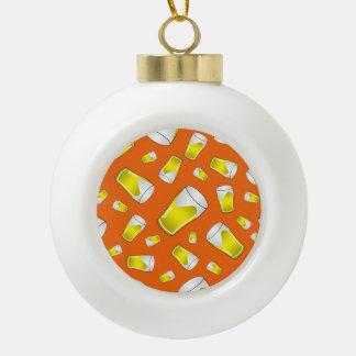 Modelo anaranjado de la cerveza adorno de cerámica en forma de bola