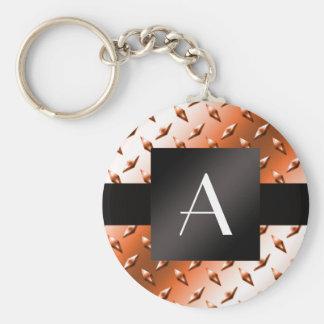 Modelo anaranjado de la placa de acero del diamant llavero redondo tipo pin