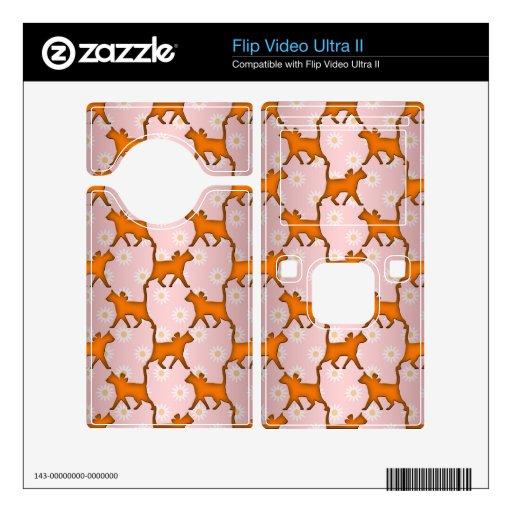 Modelo anaranjado de la silueta del gato flip video ultra II skins