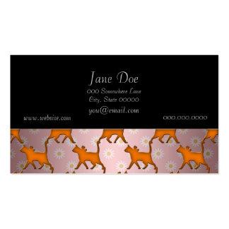 Modelo anaranjado de la silueta del gato tarjetas de visita