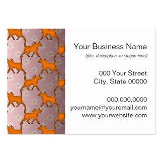 Modelo anaranjado de la silueta del gato tarjetas de visita grandes