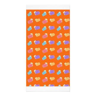 Modelo anaranjado de la torta tarjetas personales