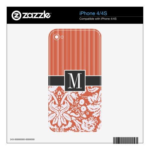 Modelo anaranjado de moda del damasco skin para el iPhone 4