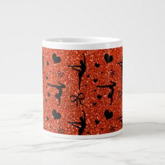 Modelo anaranjado de neón del brillo de la gimnasi taza extra grande