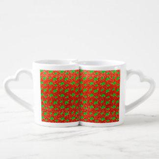 Modelo anaranjado de neón del brillo de la tortuga tazas para enamorados