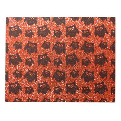 Modelo anaranjado de neón del brillo del búho bloc de papel