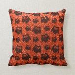 Modelo anaranjado de neón del brillo del búho almohada