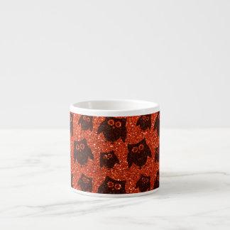 Modelo anaranjado de neón del brillo del búho tazas espresso