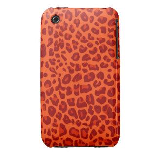 Modelo anaranjado de neón del estampado leopardo iPhone 3 Case-Mate cárcasas