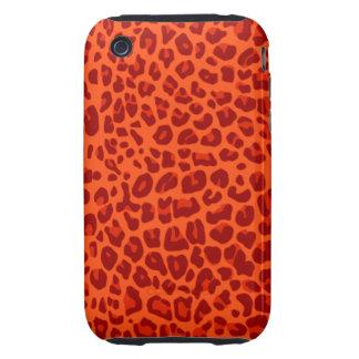 Modelo anaranjado de neón del estampado leopardo tough iPhone 3 protector