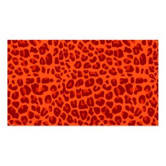 Modelo anaranjado de neón del estampado leopardo tarjeta de negocio