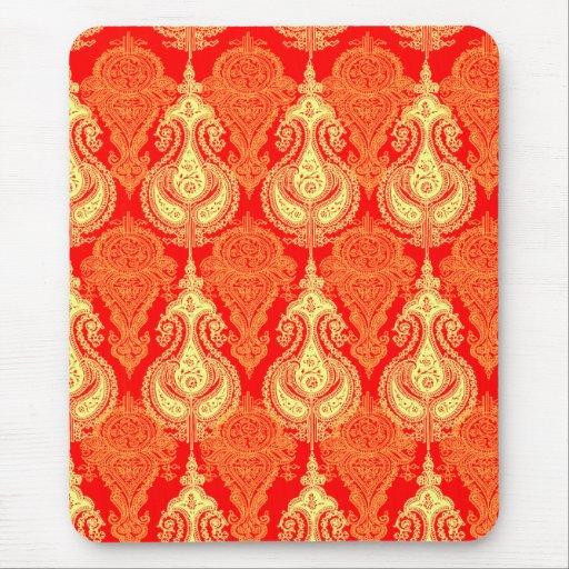 Modelo anaranjado de Paisley Tapetes De Raton